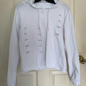 DIY Cut/Cropped white hoodie